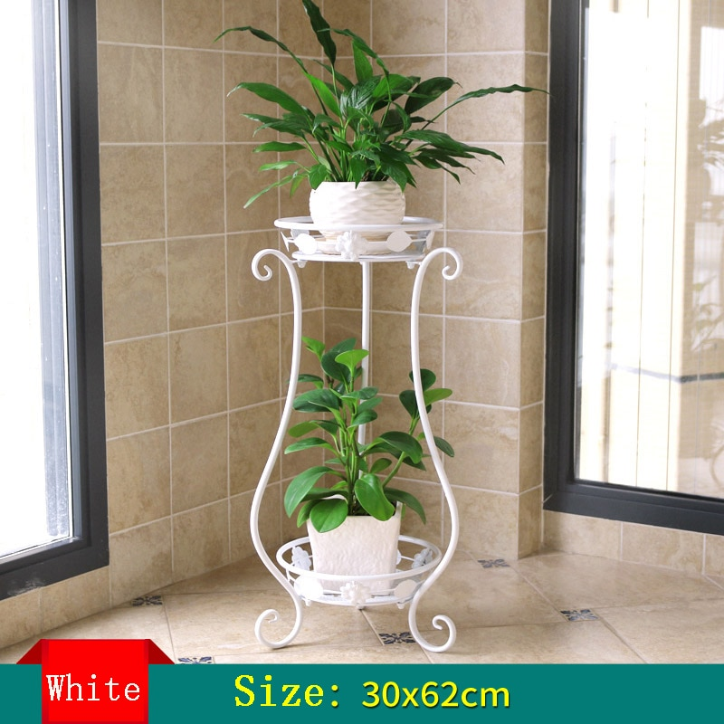 Estanterías para plantas flor europea de hierro soporte balcón estante de planta de doble cubierta sala de estar piso interior tipo flor carnosa verde estante