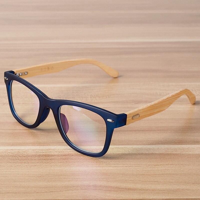 Corea Moda Gafas Marco Lente Transparente Anteojos Ópticos Gafas Monturas de gafas De Madera De Bambú Negro Azul para Las Mujeres de Los Hombres