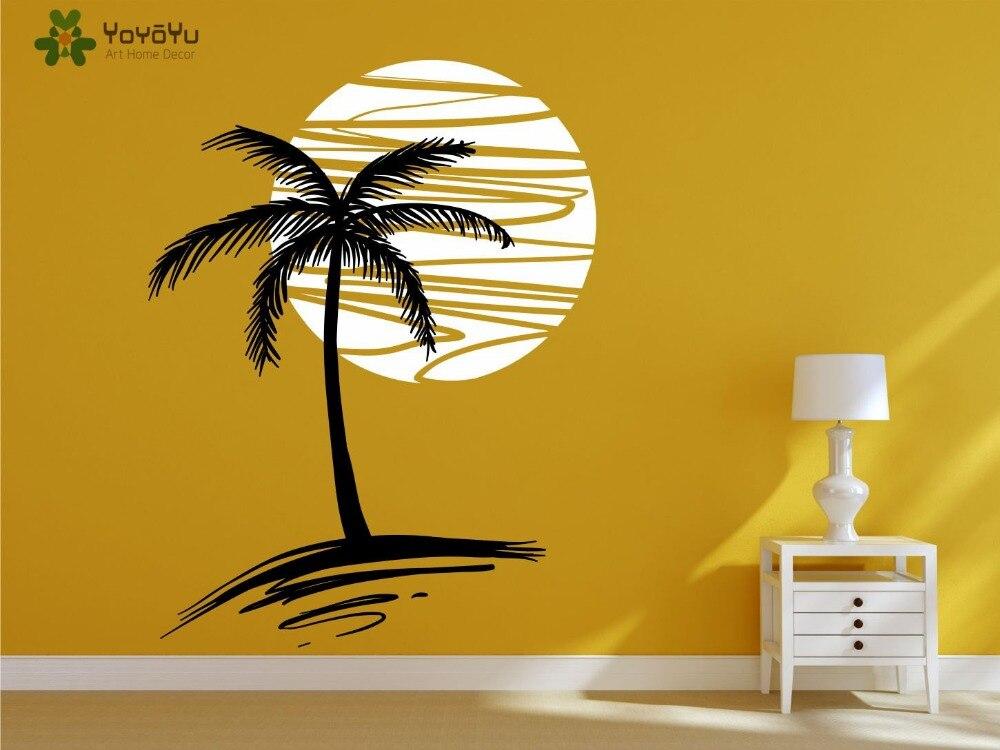 Calcomanía de pared de diseño moderno vinilo de vacaciones pegatinas de pared exóticas palmeras y atardecer estampado artístico Mural para dormitorio y sala de estar SY169