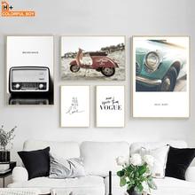 Colorfulboy Voertuig Radio Motorfiets Vintage Posters En Prints Muur Art Schilderijen Canvas Foto S Voor Woonkamer Decoratie