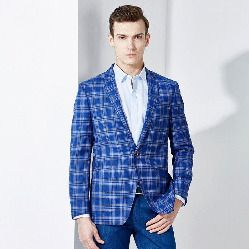 Blazer azul dos homens 2018 outono inverno casual xadrez dia dos pais presente marido namorado estilo Inglaterra ternos jaquetas desgaste noivo do casamento