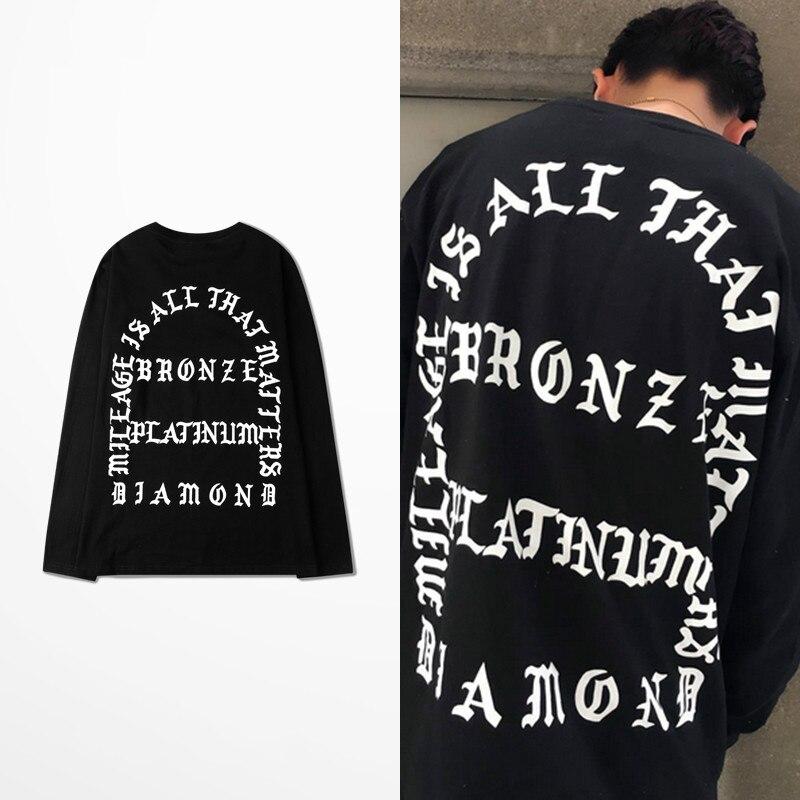 Ulzzang Skateboard mosca muerta Hip Hop Club camisetas de hombre de manga larga Kanye West Pablo calle algodón gótico carta Tee Top