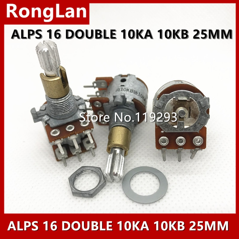 [BELLA] Japan imports 16 10KB 10KA  original ALPS volume potentiometer double handle length 25MM hole 9MM