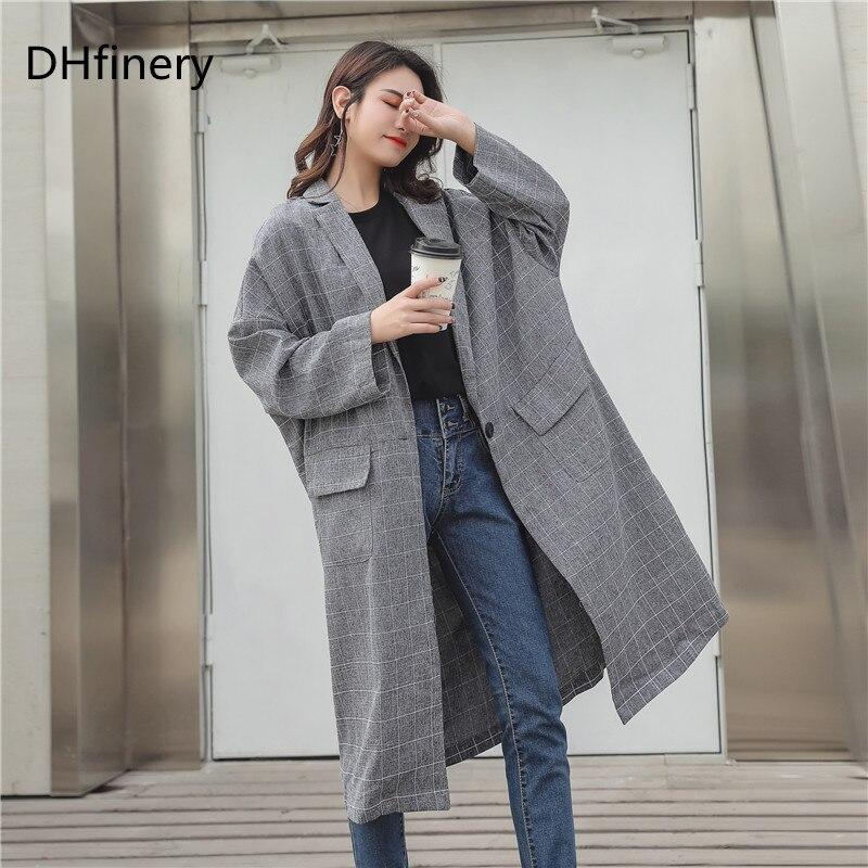 DHfinery  Autumn winter trench coat women gray Elegant Office  Slim Coat for bust 135-160cm plus size XL-3XL B971