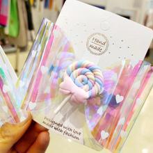 Thumbelina-lazos de piruleta con purpurina para niña, accesorios para el cabello, pinzas para el pelo, 4 pulgadas