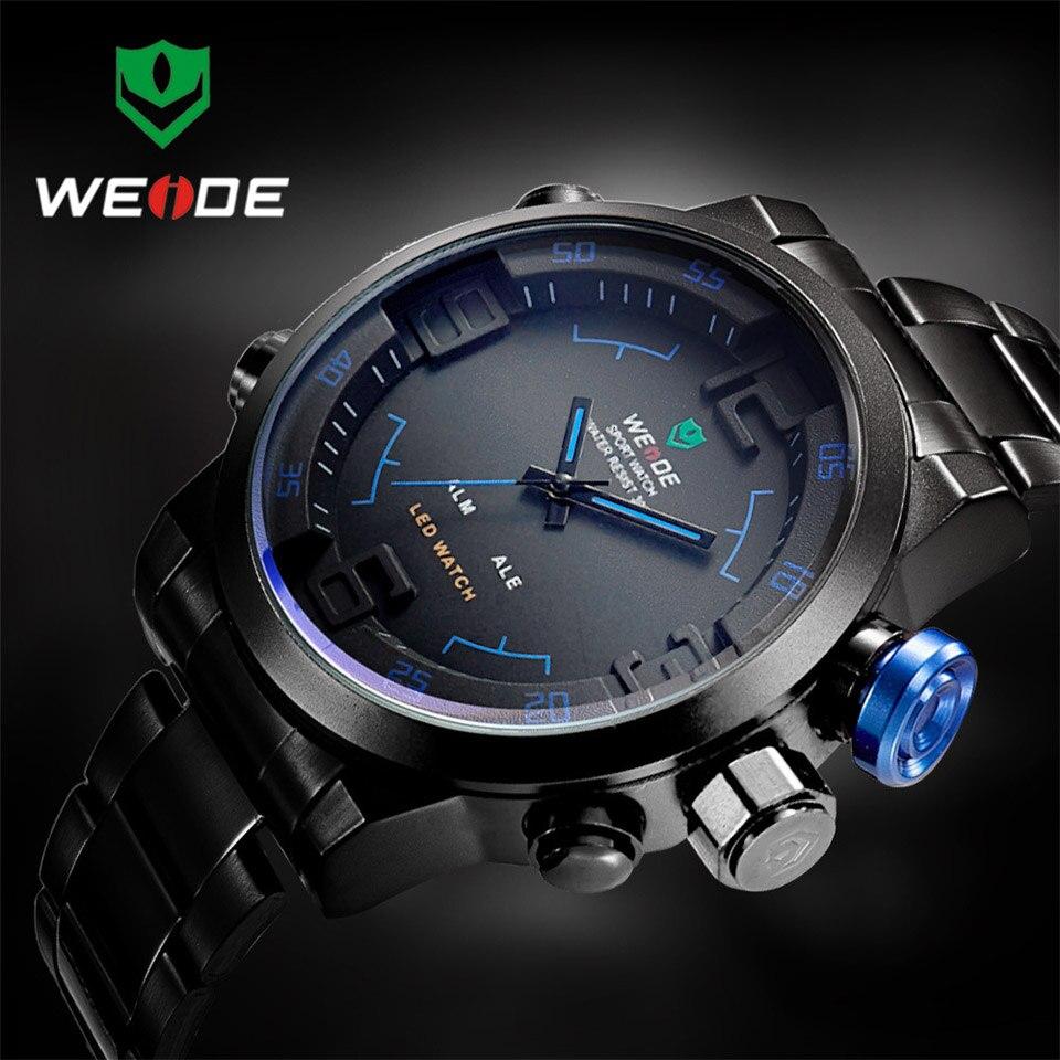 Reloj WEIDE de marca superior, reloj Digital de acero inoxidable para hombres, reloj de pulsera deportivo, reloj de pulsera LED de cuarzo militar, reloj Masculino