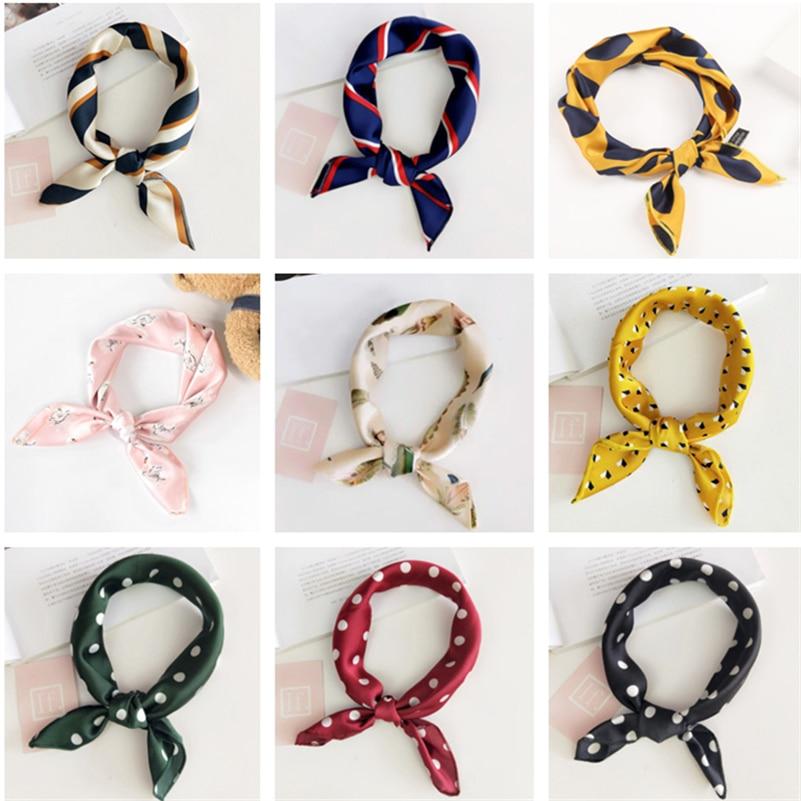Pañuelos estampados de seda cuadrados de 47cm con estilo multicolor, pañuelo para el cuello, pañuelo para el pelo, diademas, joyas para el cabello para mujeres