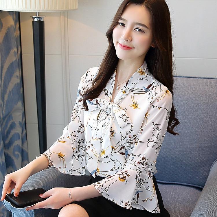 flare sleeve bow tie back blouse New Spring 2020 Women Chiffon Long Sleeve Blouse & Shirt Feminine V-neck Bow Print Flare Sleeve Tops & Shirt