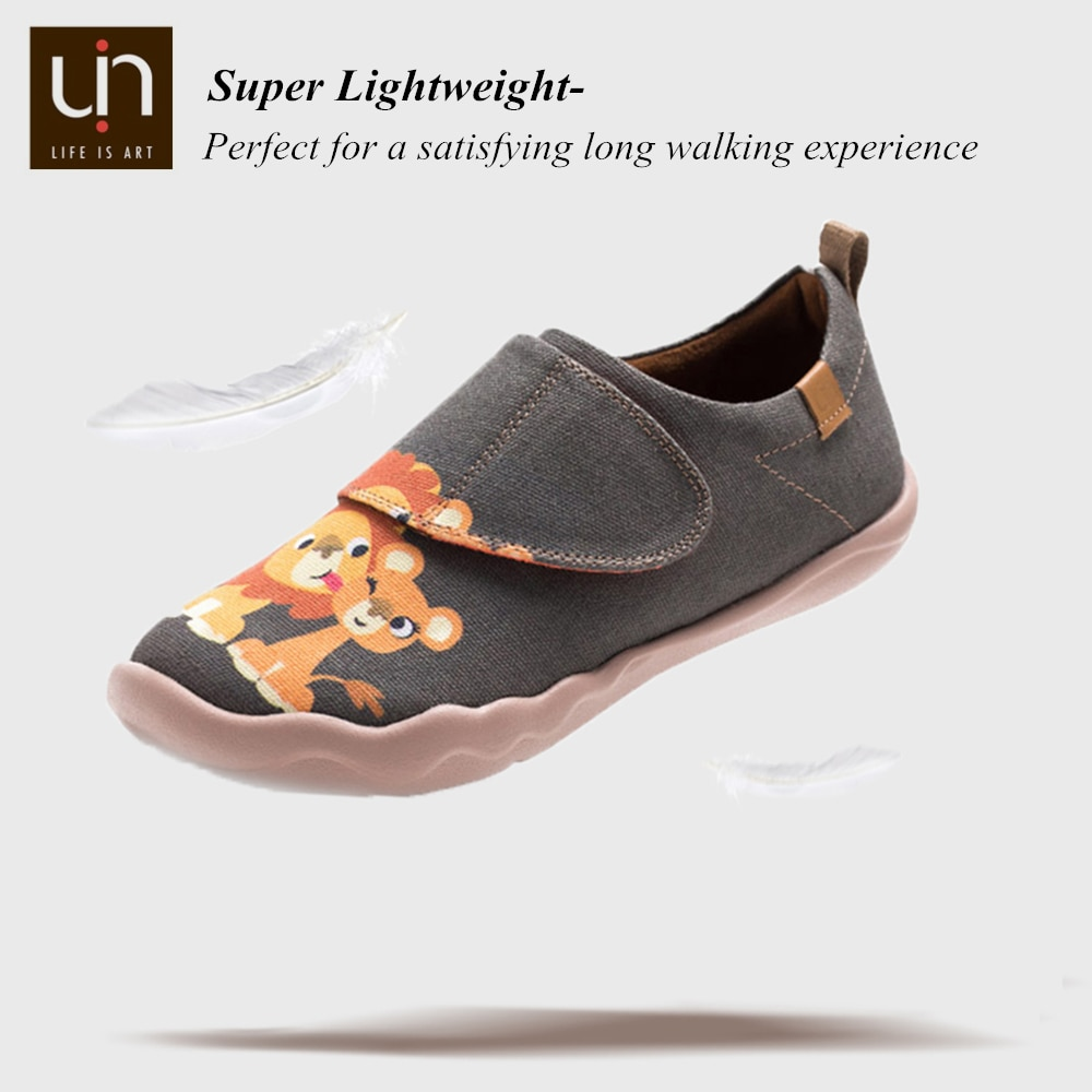 UIN Honey Lion Design Big Kids Painted Canvas Shoes for Boys/Girls Hook & Loop Casual Sneakers Soft Flats enlarge