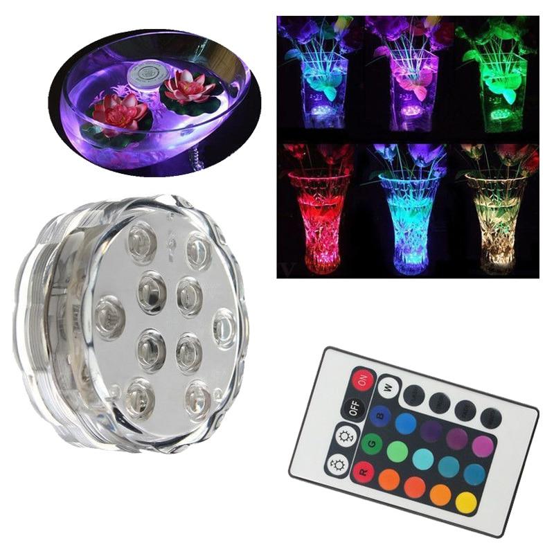 10 LED RGB Multi Color AquSubmersible vela Base de lámpara para iluminación + control remoto