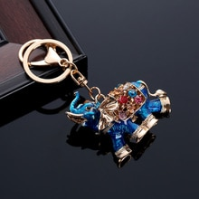 Lovely 3D Auspicious Crystal Elephant Keychain Bag Pendant Car Keys Holder Keyring Key Chain HSJ88