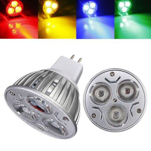 10 шт./лот MR16 3 Светодиодные энергосберегающие прожекторы вниз свет домашняя лампа DC12V белый/теплый белый/чистый белый/красный/желтый/синий/зеленый