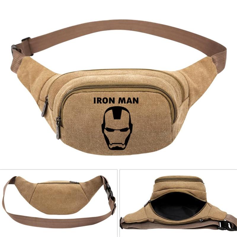 Hombre de Hierro Super héroe de los hombres de la moda de las mujeres de los chicos de paquete de la cintura bolsa de cinturón de cadera de Fanny bolsa dinero riñonera para teléfono