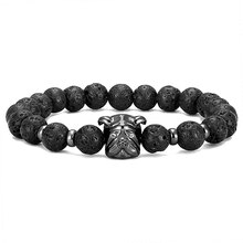 High quality fashion pug shape micro-inlaid zircon volcanic stone natural stone bracelet beaded men's accessories handmade gifts