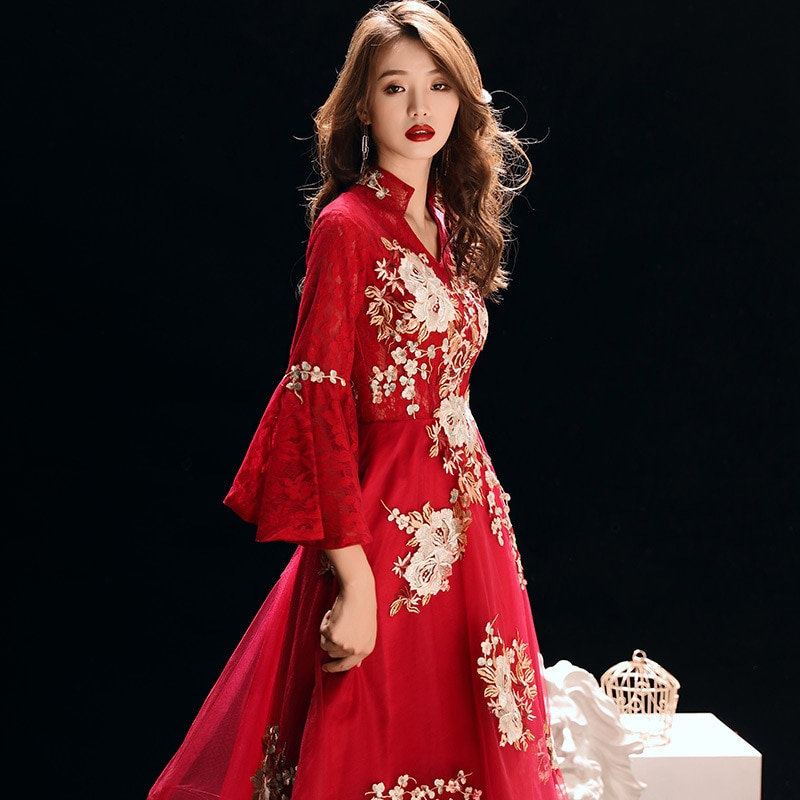Vestido de noche elegante moderno Cheongsam de estilo Vintage con bordado chino Oriental para boda para mujer para Banquete de celebridades