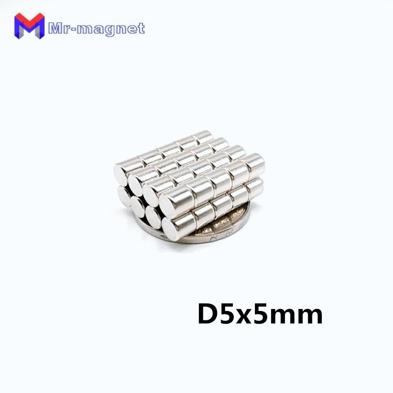 200 Uds 5x5mm imán 5*5 Mini disco imanes redondos fuertes permanentes D5x5 a granel imán D5 * 5mm