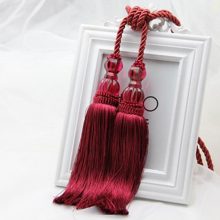 Cortinas de estilo europeo colgar gancho de pared borla ligadura exclusiva bola cuerda colgante color rojo tiebacks