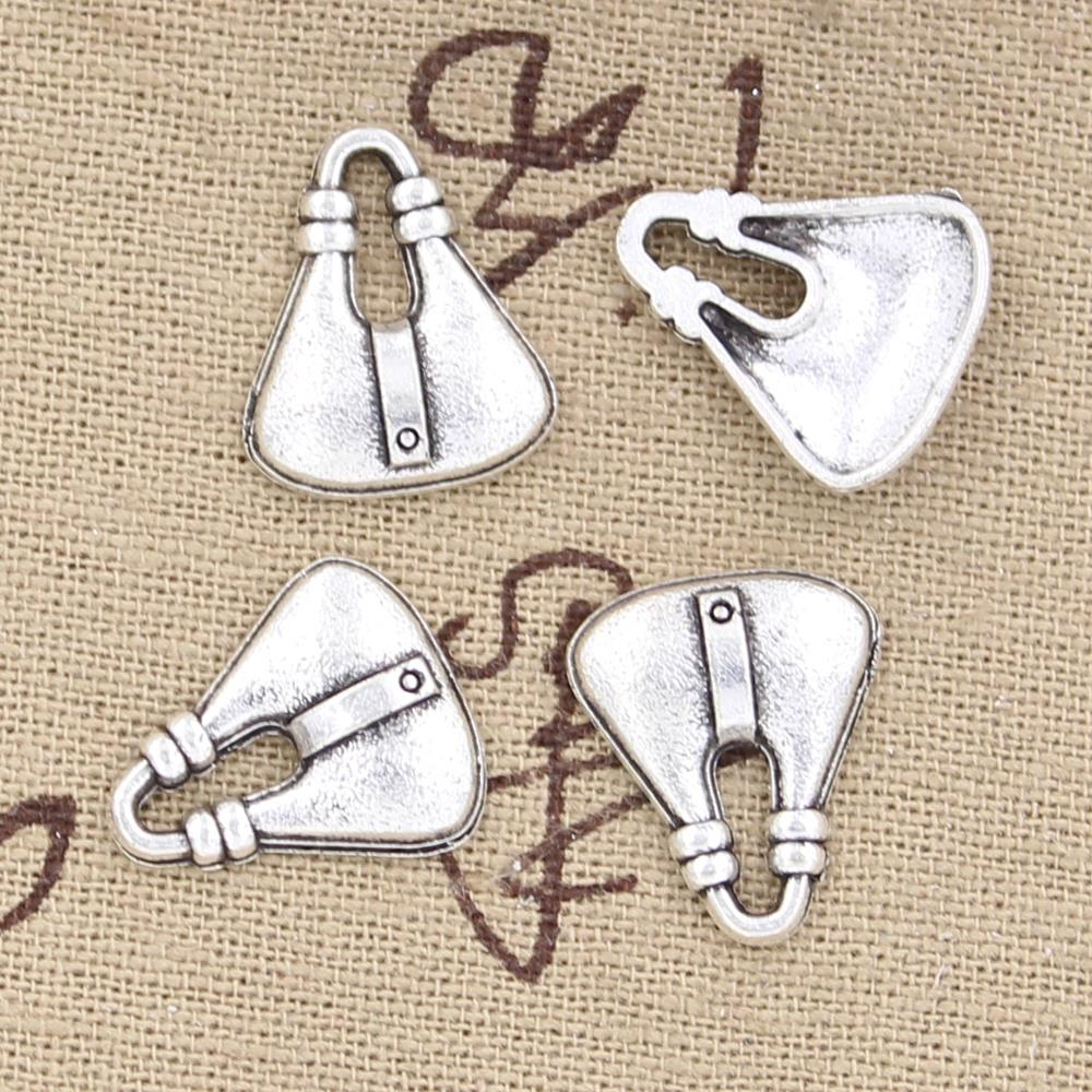 Colgantes de 12 Uds. Para bolso de 18x15mm, colgante de plata tibetana antigua, accesorios DIY, Gargantilla Vintage, joyería hecha a mano