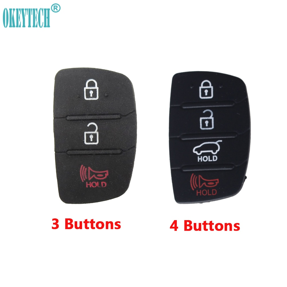 Carcasa de repuesto suave de 3/4 botones OkeyTech, almohadilla con botón de goma para Hyundai SANTA FE IX35 IX45 Accent I40, envío gratis