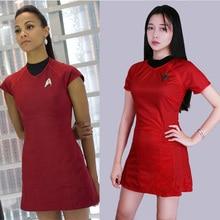 Cosplay Startreks Into Darkness StarFleet Uhura Costume with Badge Dress Cosplay  Red Halloween Uniform