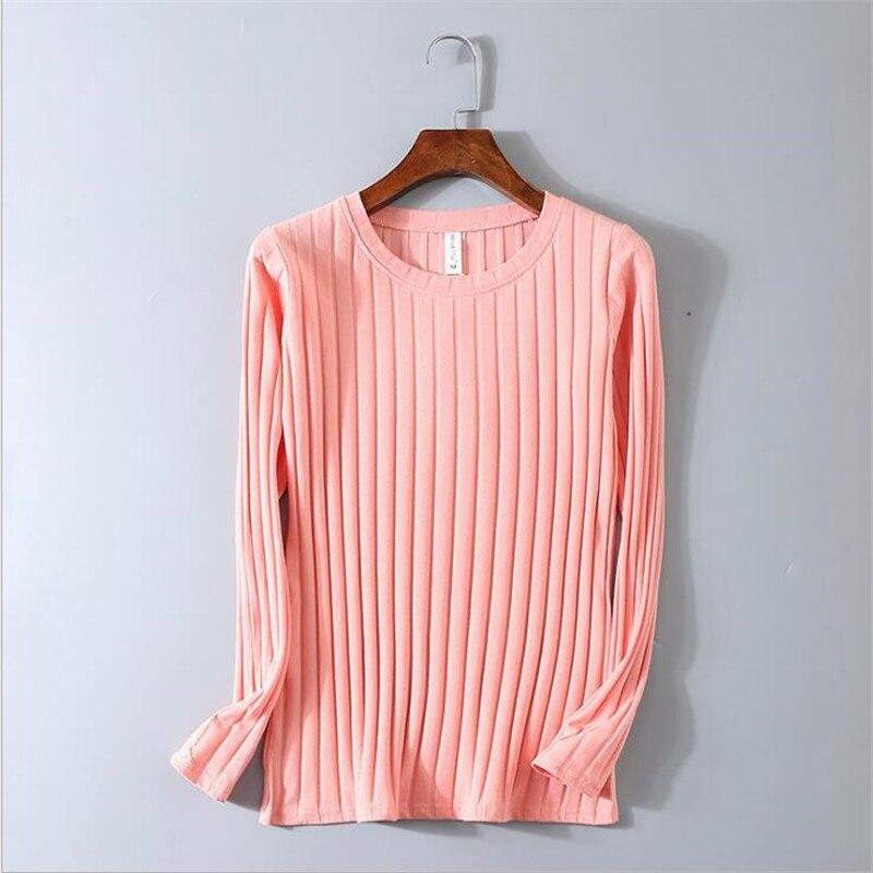Camiseta de manga larga de Color sólido a rayas 95% de algodón para mujer de primavera fina, camiseta de M-3XL súper elástica y ajustada con cuello redondo para chicas, camiseta