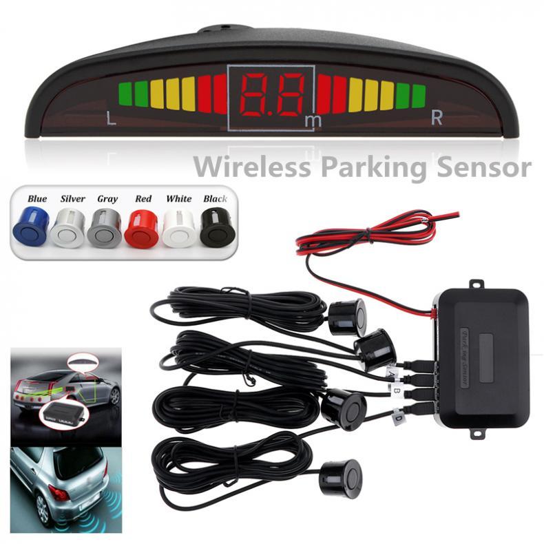 Coche inalámbrico Auto Parktronic Sensor de estacionamiento con luz LED con Sensor 4 inverso Backup coche de estacionamiento sistema de detección monitorizado con Radar de fondo