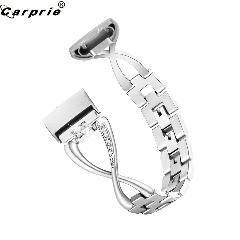 CARPRIE Chic Design Lady Rhinestone Stainless Steel Dress Watch Strap Wrist Band For Fitbit Charge 3
