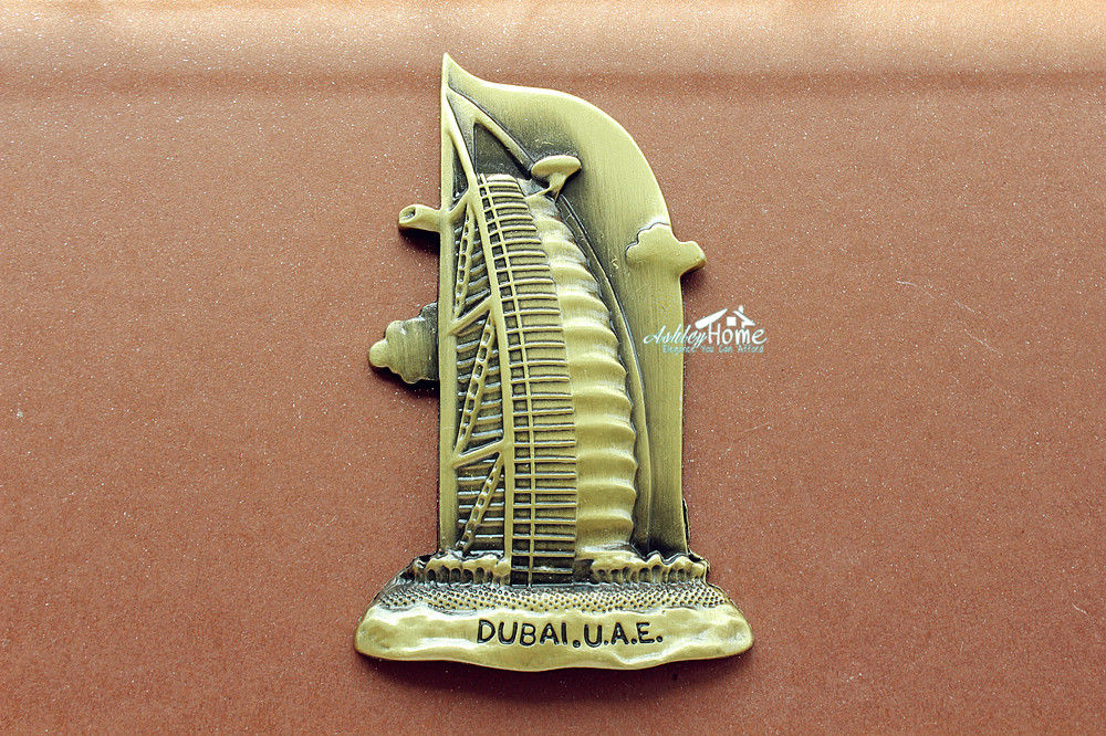 Imán metálico para nevera de UAE DuBai Burj Al Arabe Hotel turismo turístico Souvenir 3D