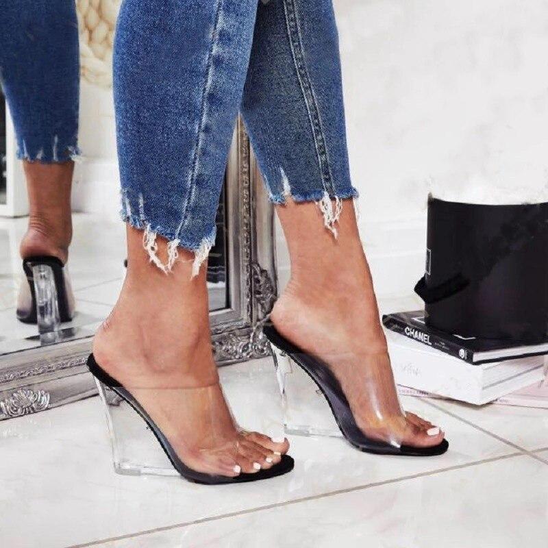 2019 mujeres 11,5 cm tacones altos cuñas sandalias transparentes diapositivas fetiche verano bombas mujer Jelly Valentine zapatos de tacón claros sandalias