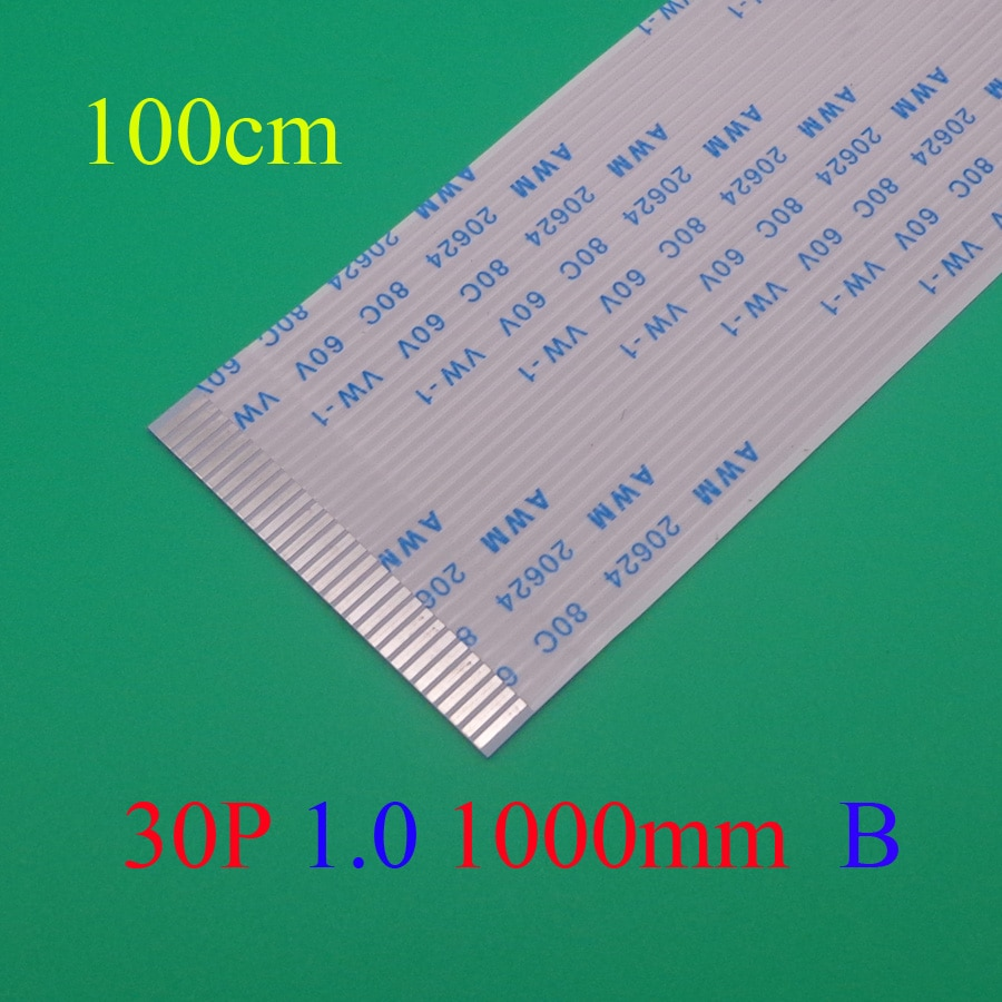 2 pcs New FFC FPC plano flexível cabo 1.0mm pitch 30pin Reverso/Anisotropy Comprimento 1000mm Fita Flex cabo