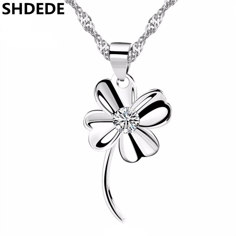 SHDEDE cuatro hojas trébol joyería de cristal de Swarovski colgante de moda collares para mujeres accesorios de moda fiesta regalo-*