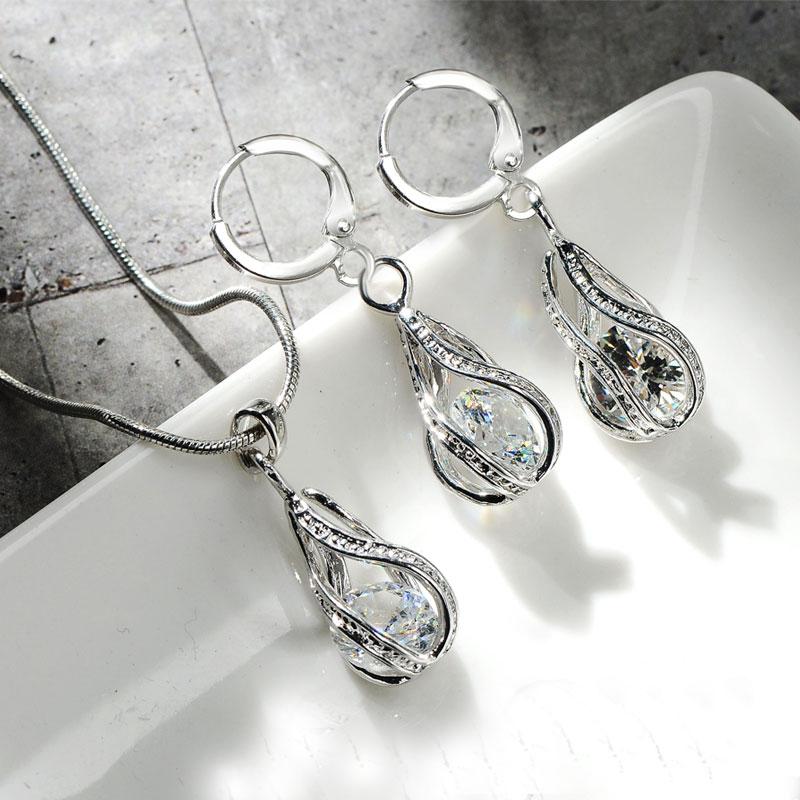 CARSINEL, conjunto de joyería nupcial de moda para mujer, color plateado claro, collar y pendientes de circón cúbico, conjuntos de joyería para fiesta y boda