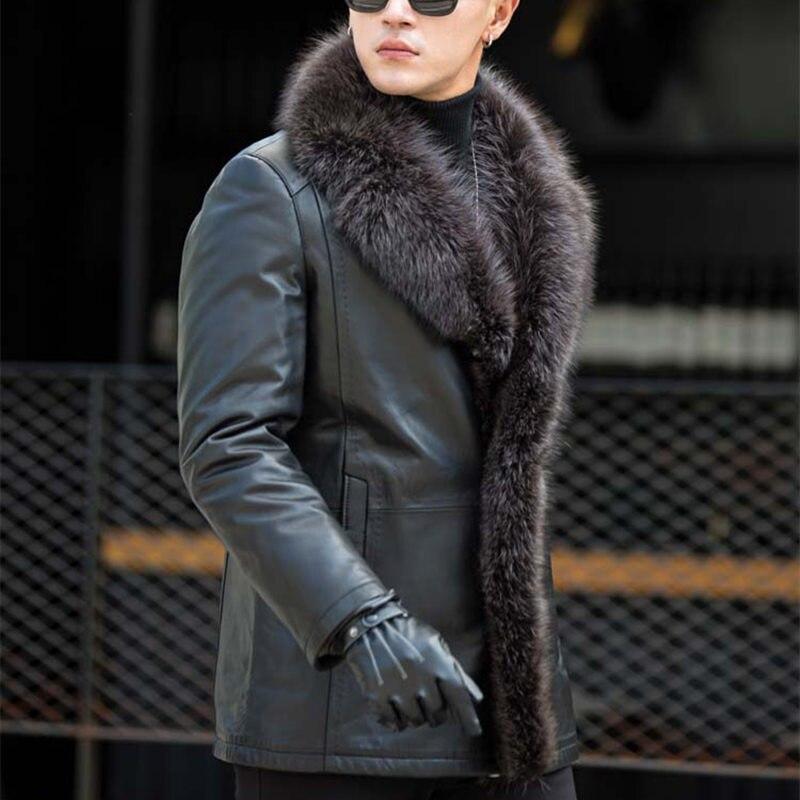 Male Raccoon Fur Collar Long Fur One Leather Men's Jacket Large Fur Warm Plus Size 4XL 5XL Winter Real Sheep Leather Coat MZ3267