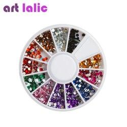 Cor aleatória prego strass roda 2mm acrílico prego arte strass decoração para uv gel polonês deco diy ferramentas de unhas
