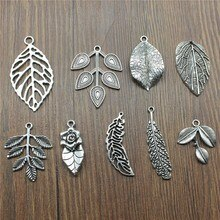 8 teile/los Charms Blatt Antike Silber Farbe Blatt Charms Anhänger Für Armbänder Zweig Charms Großhandel