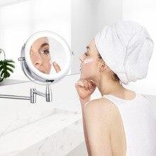 Miroir de maquillage mural réglable   Miroir de bain à Led 1X/3X 5X 7x miroir cosmétique à 2 visages à extension de bras double