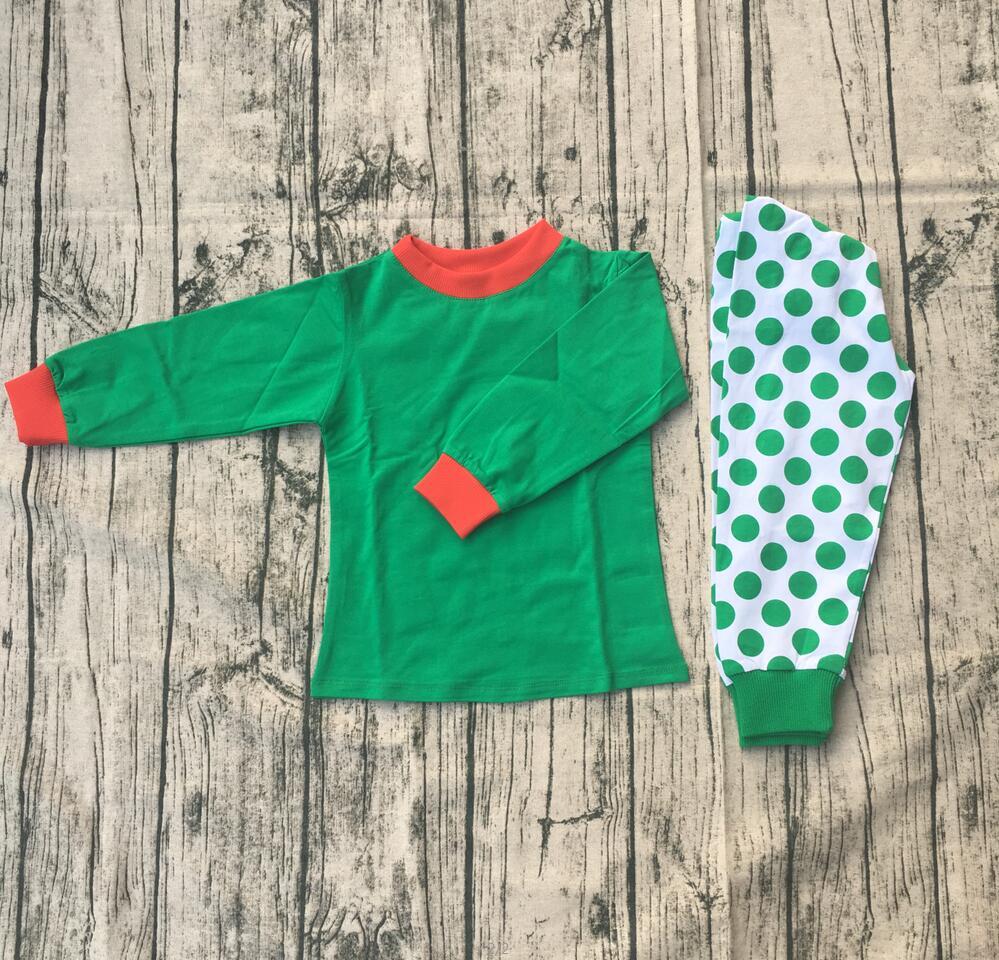 بيجامات أطفال, تصميم جديد أخضر أبيض نقطة ملابس نوم للأطفال عيد الميلاد ملابس نوم رخيصة الثمن