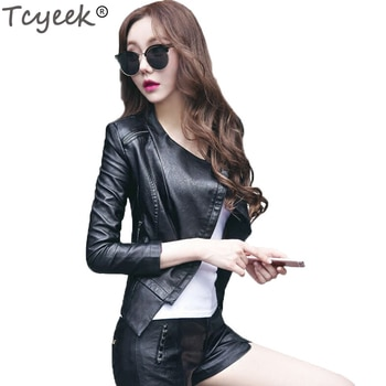 Tcyeek 2020 new spring women faux leather jacket black women leather jacket plus size jaqueta de couro feminina 5XL Tcyeek HH011