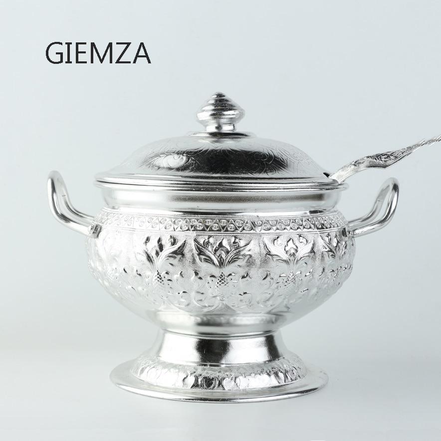 GIEMZA-وعاء كبير من القصدير مع أغطية ، أواني الطعام Tom Yum ، الكونغ ، وعاء وملعقة ، للحلوى التايلاندية ، وعاء الحساء