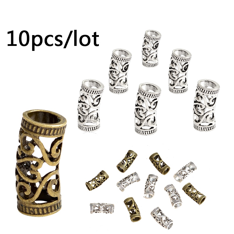 10pcs/set Viking beads Norse Viking Hair Jewelry Braid Beads Vintage Charm Runes beads for Moustache