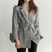 Printemps Automne Femmes Gris Plaid Office Lady Blazer Mode Arc Ceintures de Split Manches Vestes Élégant Travail Blazers Feminino