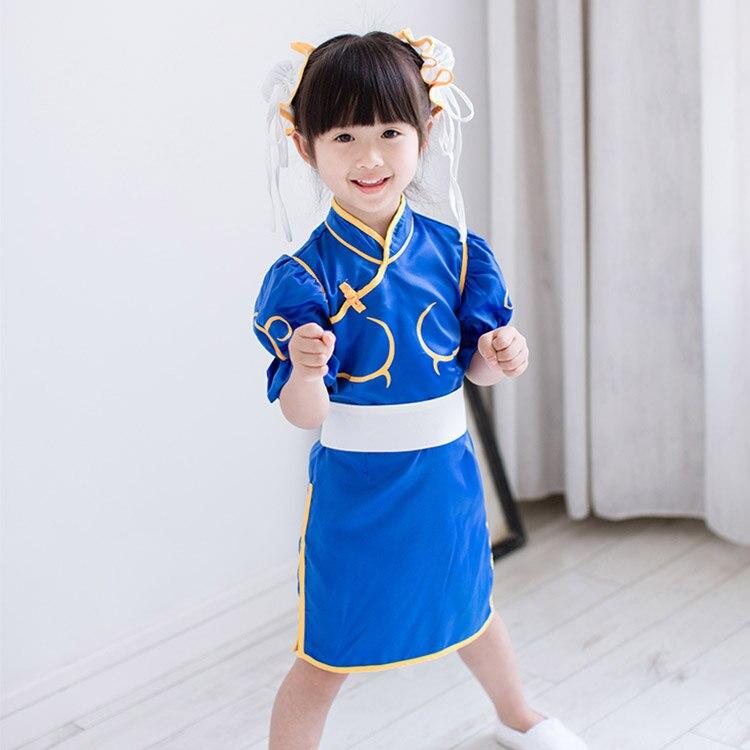 Chun Li Chunli Blue Dress Outfit Cosplay Costume for Kids