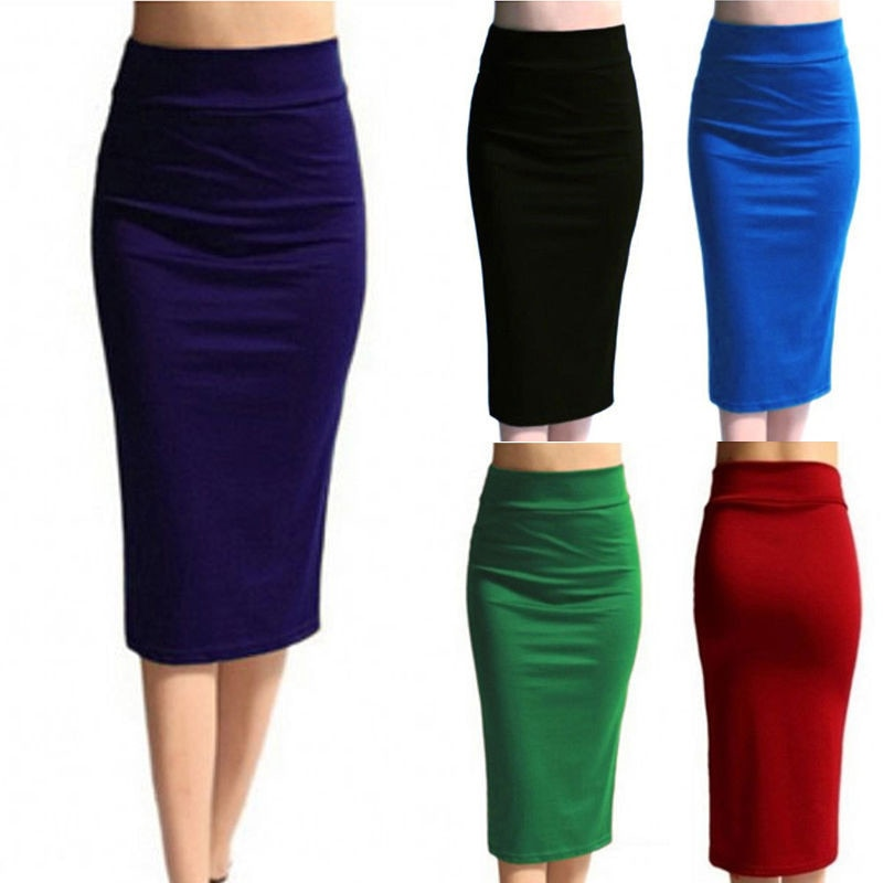 2020 New Women Skirt Mini Bodycon Skirt Office Women Slim Knee Length High Waist Stretch Sexy Pencil Skirts Jupe Femme AQ801944
