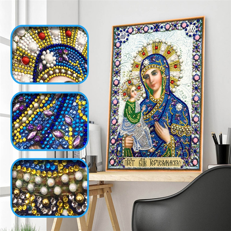 5d Diy Diamond Cross Embroidery Icon Character Crystal Diamond Mosaic Special Shaped Diamond Embroidery Rhinestone Decoration
