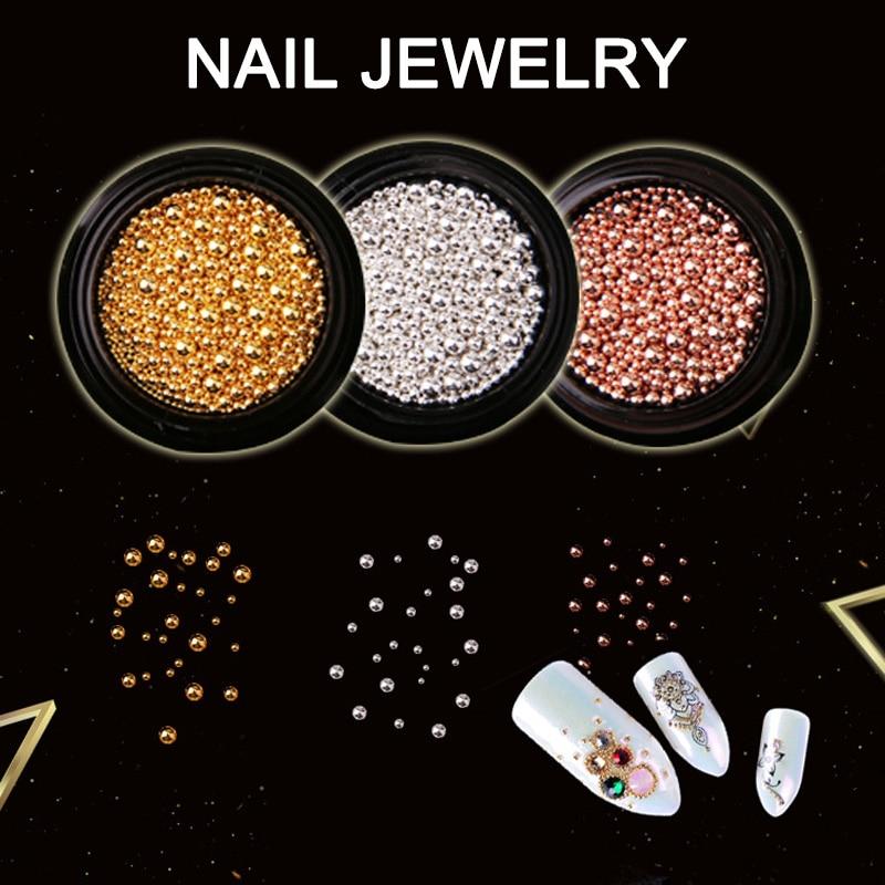 Nail Art Decoration Metal Beads Golden Silver DIY 3D Nail Art Tools Women Nails Decors Steel ball me