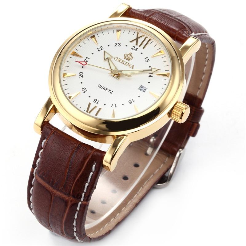 MG Caja dorada ORKINA, correa de reloj de cuero marrón, reloj de cuarzo de lujo con fecha para hombre 2016