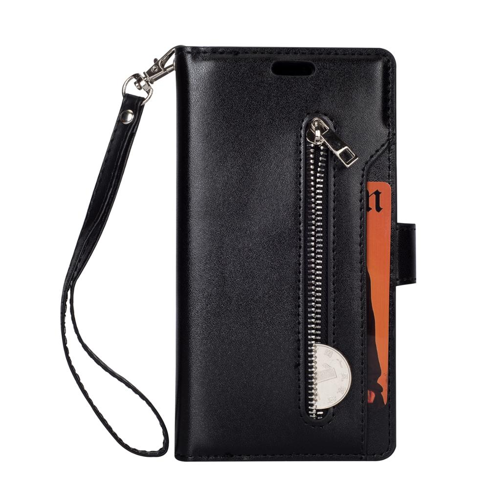 Lujosa funda tipo billetera de piel sintética con cremallera para LG K8 K10 2017, funda con 9 ranuras para tarjetas, correa para las manos