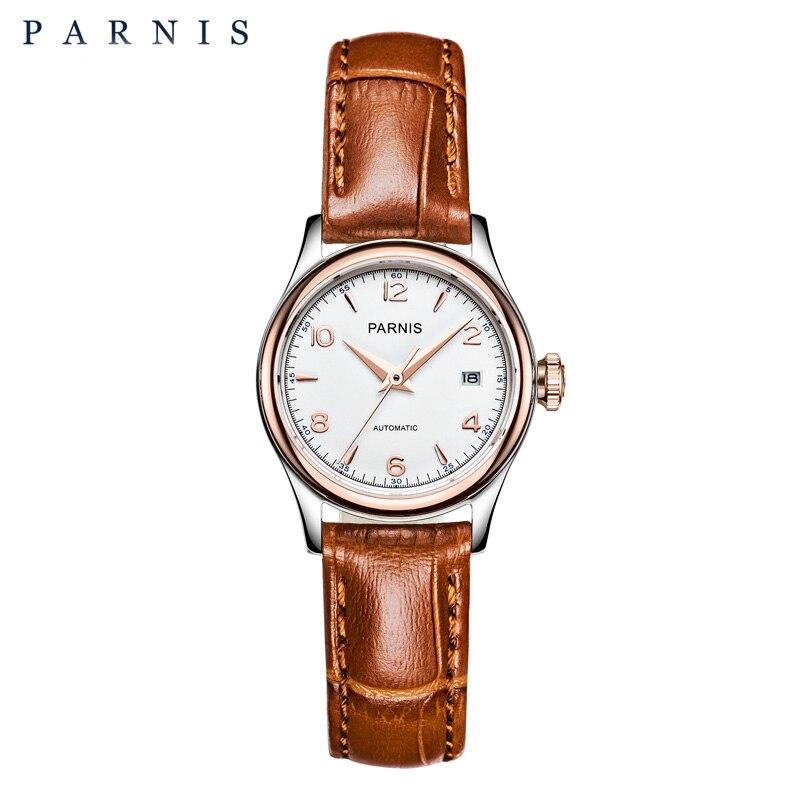 Parnis, reloj para mujer, pulsera mecánica, marca de lujo, 27mm, zafiro, cuero, reloj dorado para mujer, reloj de pulsera automático