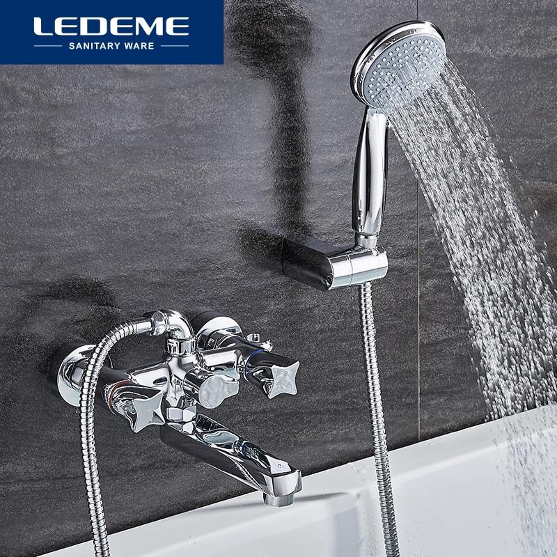 LEDEME Top Quality Bath Shower Faucets Set Bathroom Mixer Shower Bathtub Rainfall Shower Set Restroom Big Shower Head L3187