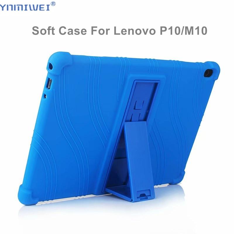 Silicon Case For Lenovo Tab M10 TB-X605F TB-X605L Stand Soft Cover P10 TB-X705L TB-X705F 10.1 Tablet